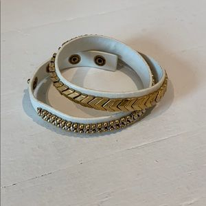 Stella and Dot Leather and Gold Wrap Bracelet